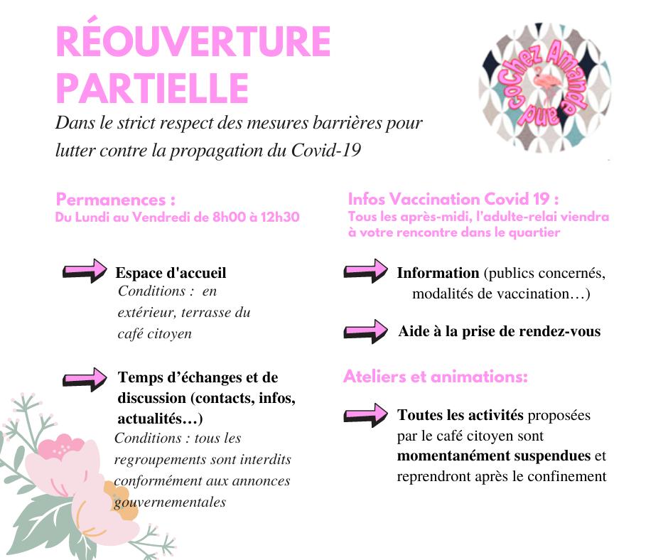 Réouverture partielle - Chez Amande and Co